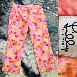 LILLY PULITZER Pineapple Print Cropped PANTS SZ 4